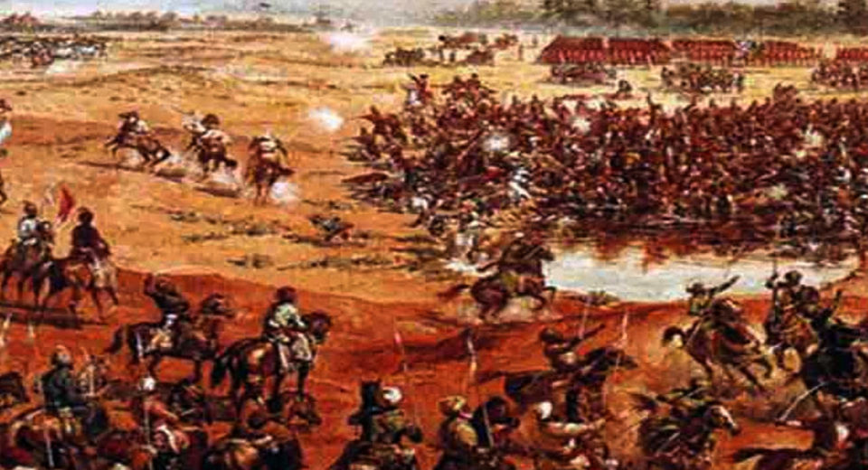 The defeat of Maratha dominance and the introduction of colonial rule after the Mughal emperor.