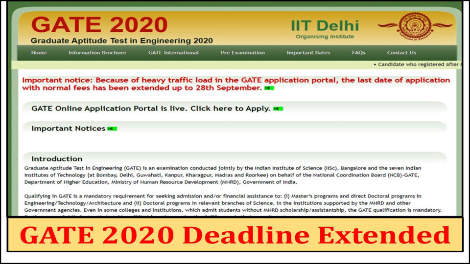 Deadline of application extended in GATE 2020, know how long can apply