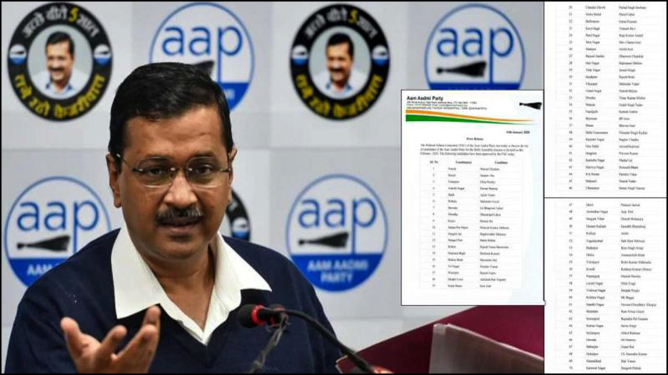 AAP party releases list of candidates for 70 seats, defeating BJP, Congress